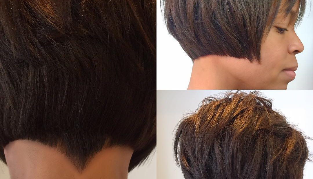 Choppy Brunette Bob with Blunt Lines and Nape Detail Short Hairstyle
