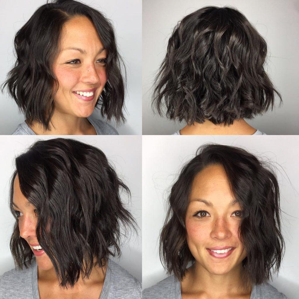 Choppy Brunette Bob with Undone Wavy Texture Medium Length Hairstyle
