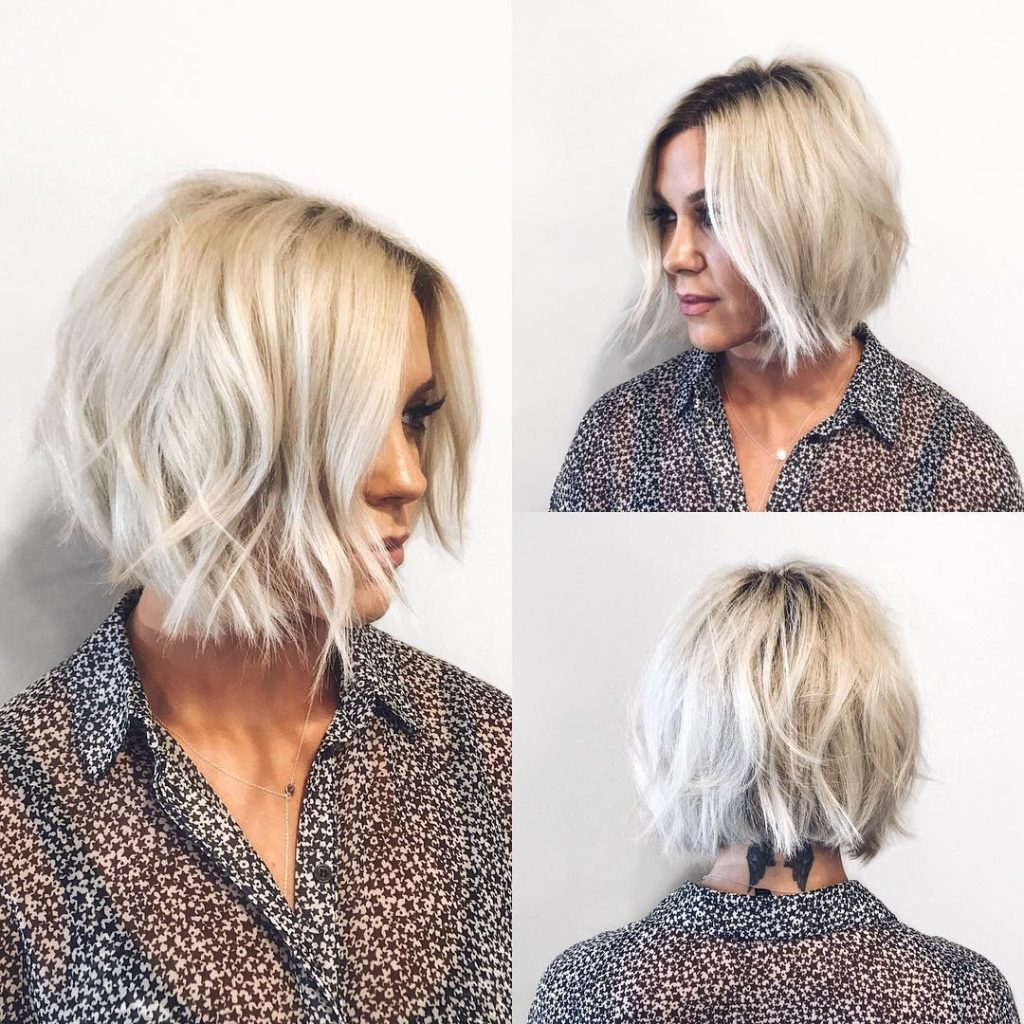 Choppy Platinum Bob with Undone Texture and Shadow Roots Short Hairstyle