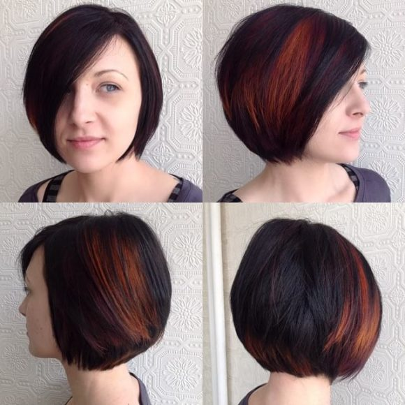 Classic Bob on Dark Hair with Bright Fiery Peekaboo Highlights Short Hairstyles