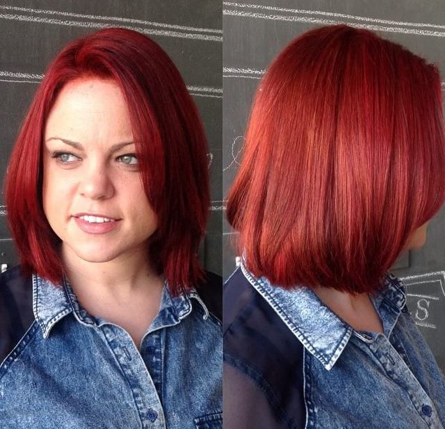 Classic Bob with Front Layers and Vivid Red Color Medium Length Hairstyle