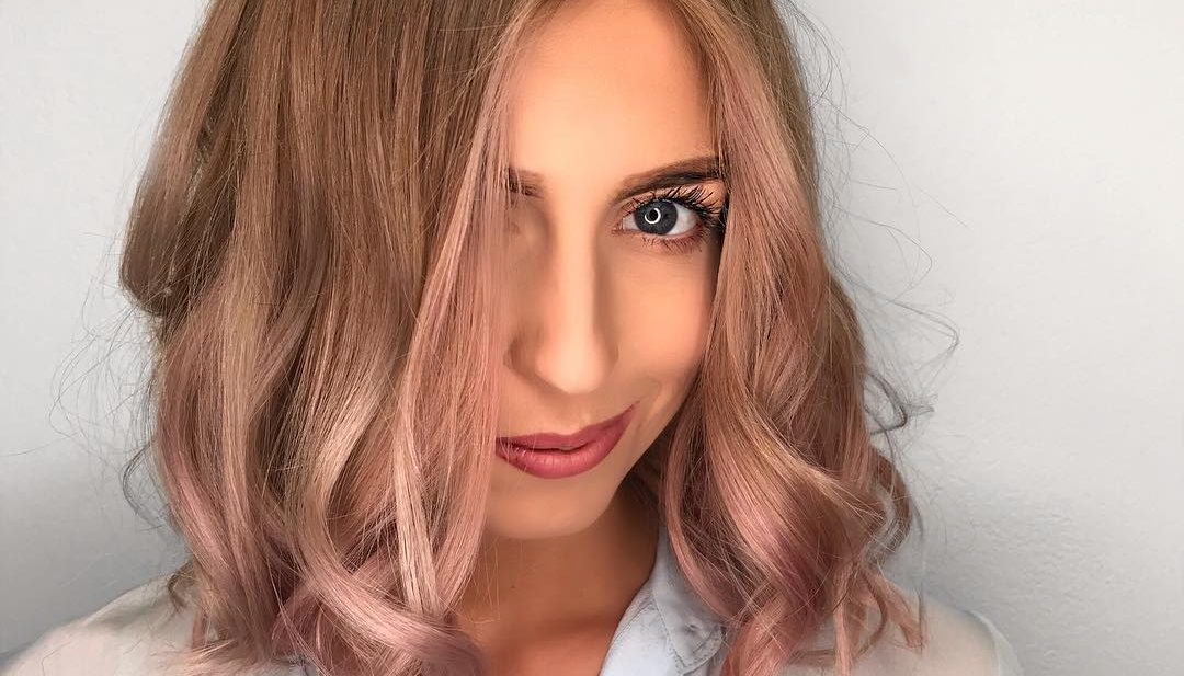 Classic Lob with Bombshell Waves and Rose Gold Balayage Medium Length Summer Hairstyle