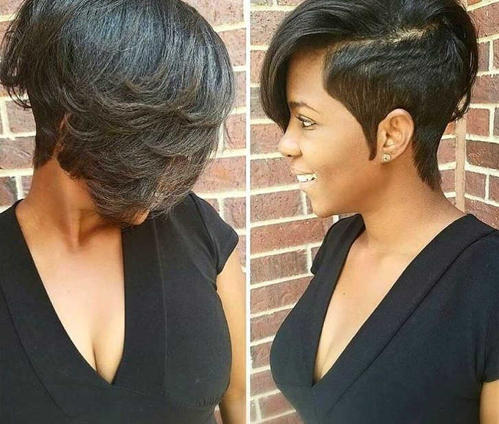 Combover Pixie with Wispy Ends on Dark Hair with Lightened Tips Short Hairstyle