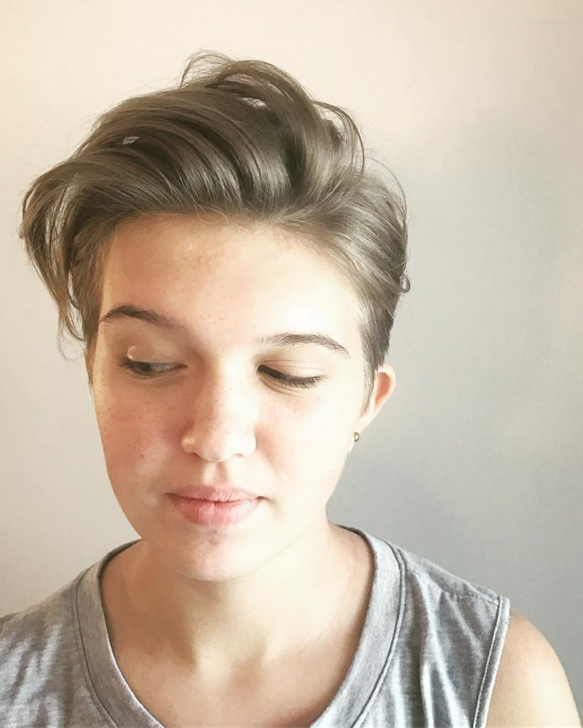 Cool Undercut Pixie with Brushed Up Messy Straight Texture and Blonde Color Short Summer Hairstyle
