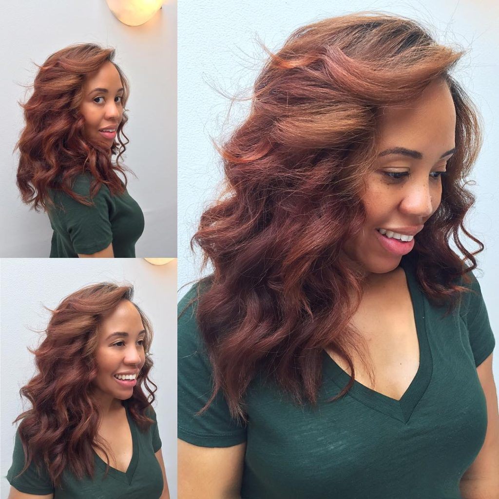 Copper Red Ombre Layered Hair with Big Soft Waves Long Hairstyle