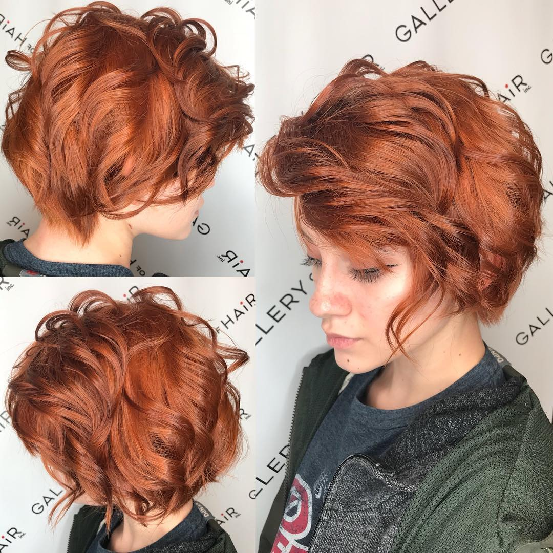 Copper Side Swept Pixie Bob with Bangs and Tousled Wavy Texture Short Hairstyle