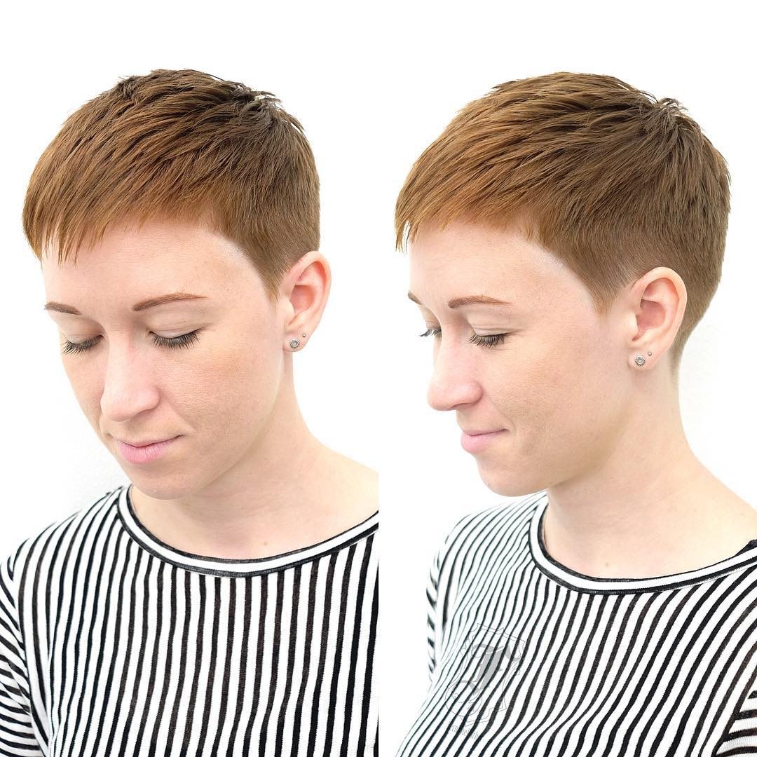 Copper Textured and Tapered Pixie Cut Short Hairstyle