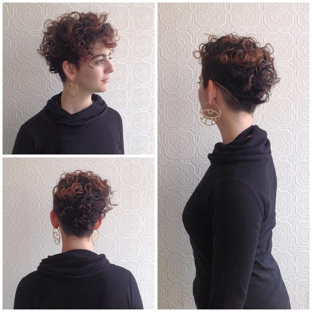 Creative Curly Pixie with Shave Detail and Brunette Ombre Color Short Hairstyle