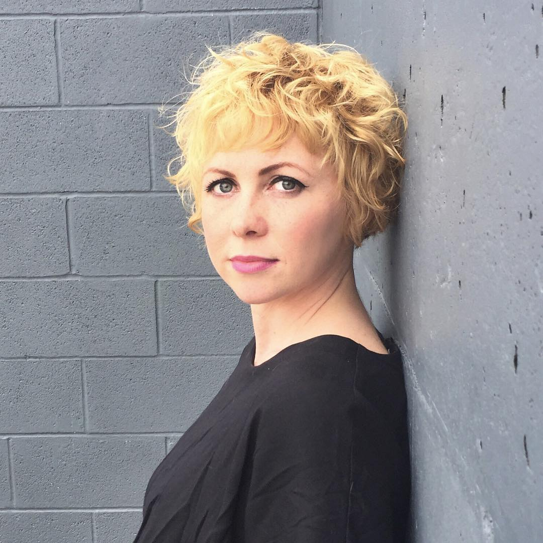 Cropped Blonde Bob with Curly Textured Fringe and Bangs Short Hairstyle
