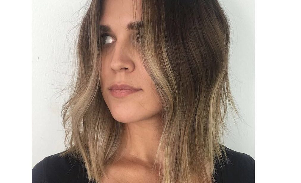 Curtained Subtle Layered Lob with Just-a-Bend Texture and Brown to Blonde Balayage Medium Length Chic Trending Hairstyle