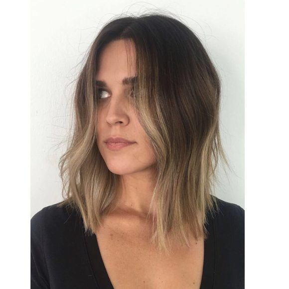 Curtained Subtle Layered Lob with Just-a-Bend Texture and Brown to Blonde Balayage