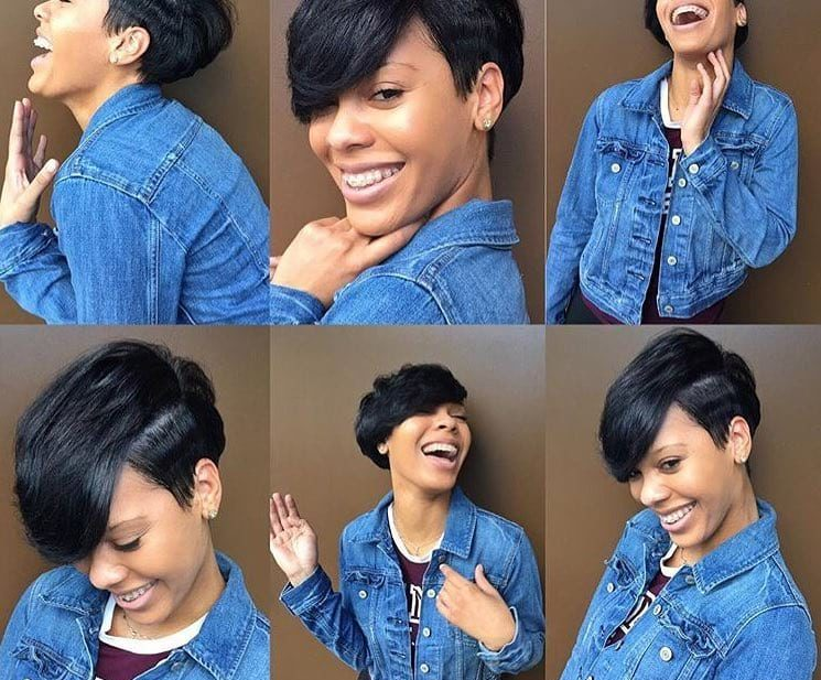 Cute Black Undercut Pixie with Side Swept Bangs Short Hairstyle