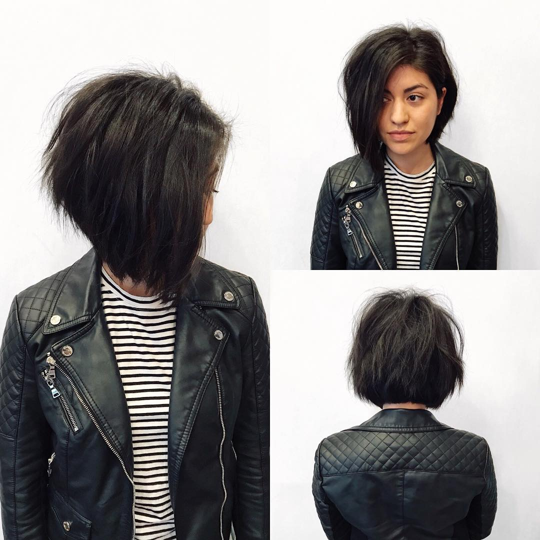 Dark Angled Bob with Shadow Layers and Undone Texture Medium Length Hairstyle