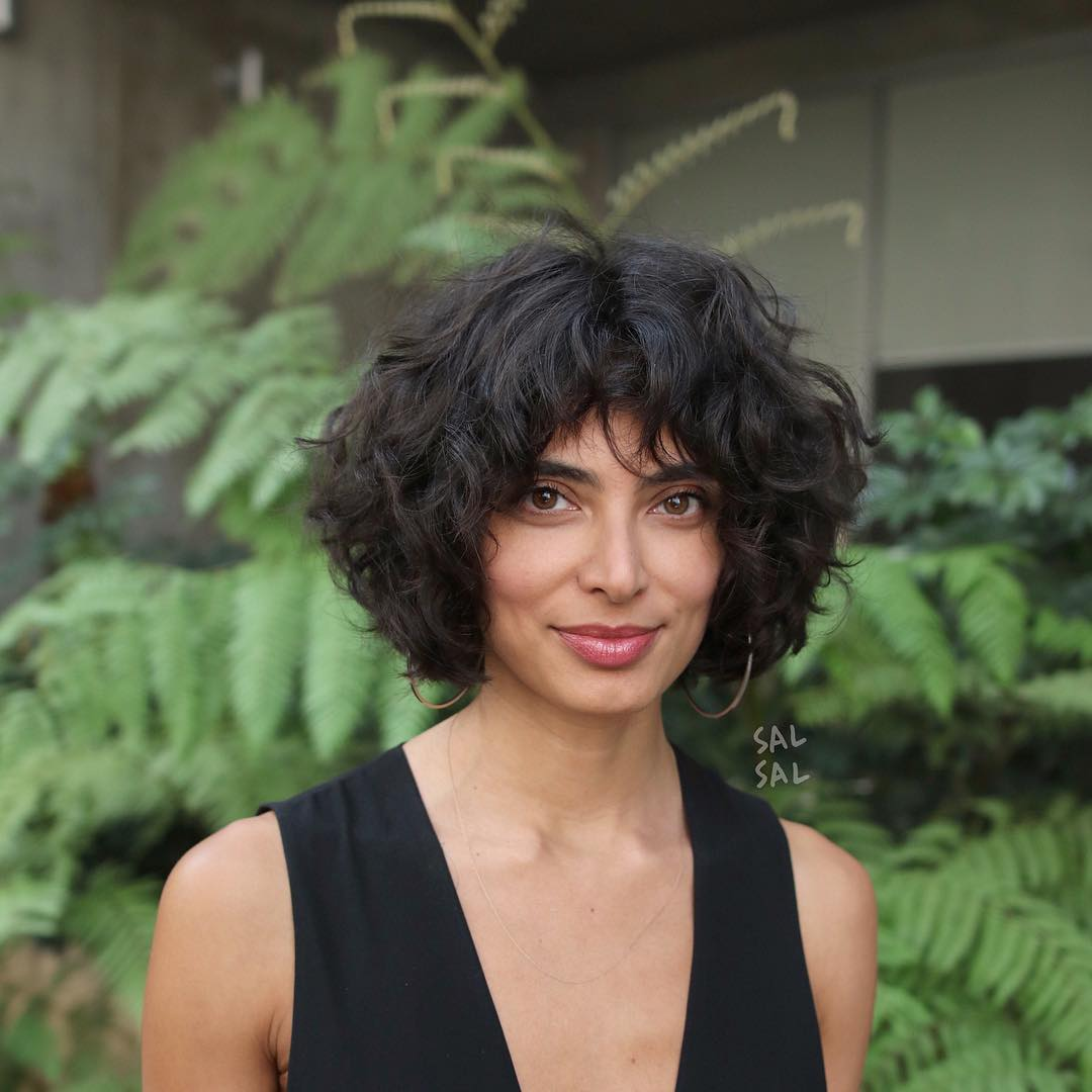 Dark Brunette Layered Bob with Undone Natural Curls and Fringed Bangs Short Hairstyle