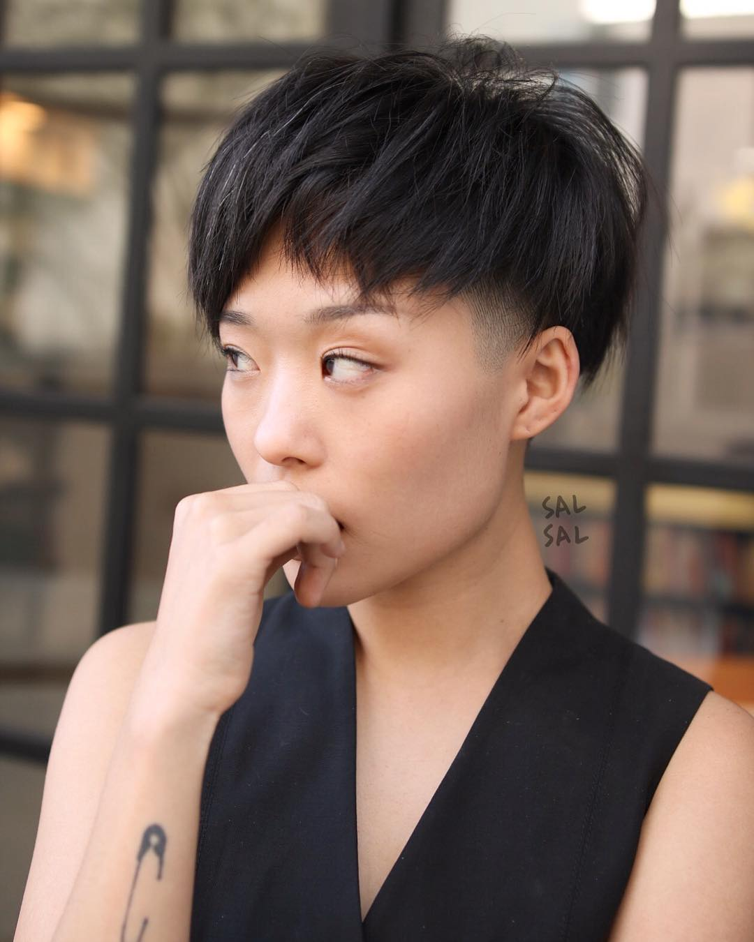 Dark Edgy Bowl Cut with Undercut and Fringe Short Hairstyle
