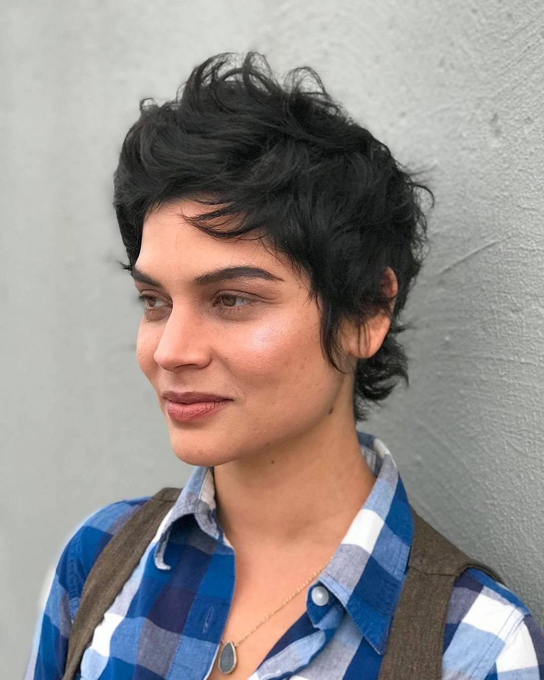 Dark Razor Cut Crop with Undone Wavy Texture Short Hair