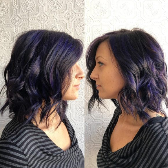 Dark Textured Lob with Messy Waves and Purple Highlights Medium Length Hairstyle