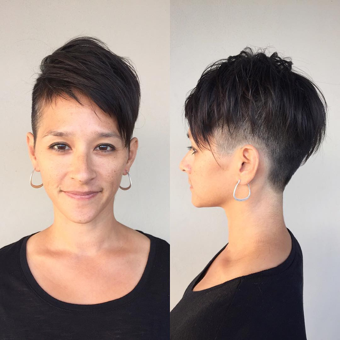 Dark Textured Undercut with Voluminous Undone Fringe and Asymmetric Bangs Short Hairstyle