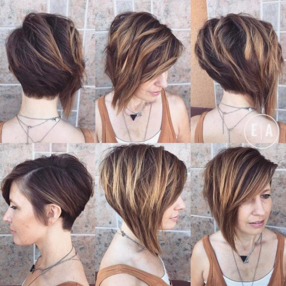 Dramatic Asymmetric Textured Bob with Side Swept Bangs and Highlights Short Hairstyle