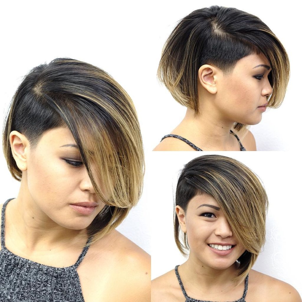 Eccentric Asymmetrical Undercut Bob with Side Swept Bangs and Highlights Short Hairstyle