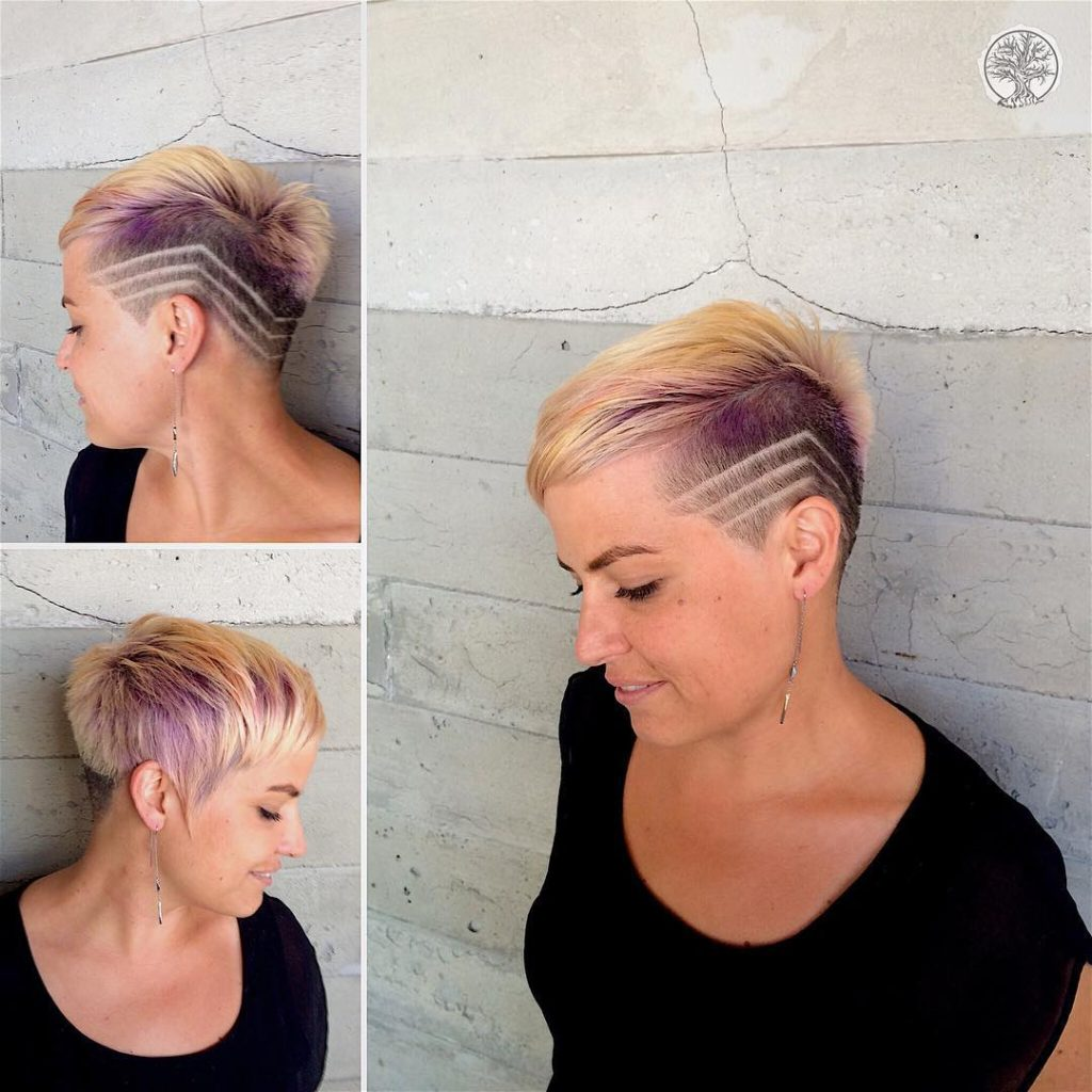 Eccentric Blonde Asymmetric Pixie with Shave Detail and Purple Peek-a-Boo Highlights Short Hairstyle