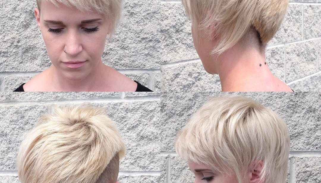 Eccentric Platinum Asymmetric Textured Pixie with Blunt Lined Undercut Short Hairstyle