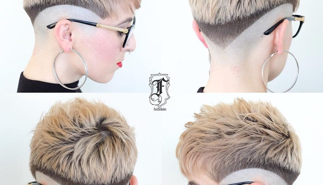 Eccentric Two Toned Fade Cut Pixie with Blunt Lines Short Hairstyle