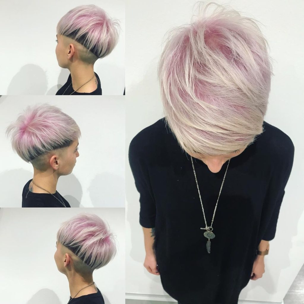 Eccentric Zero Fade Undercut with Pink Top Fringe and Blonde Highlights Short Hairstyle