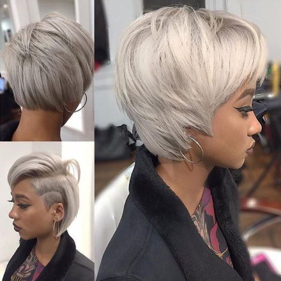 Eccentric and Chic Shaggy Platinum Undercut Bob with Shaved Side Art Short Hairstyle