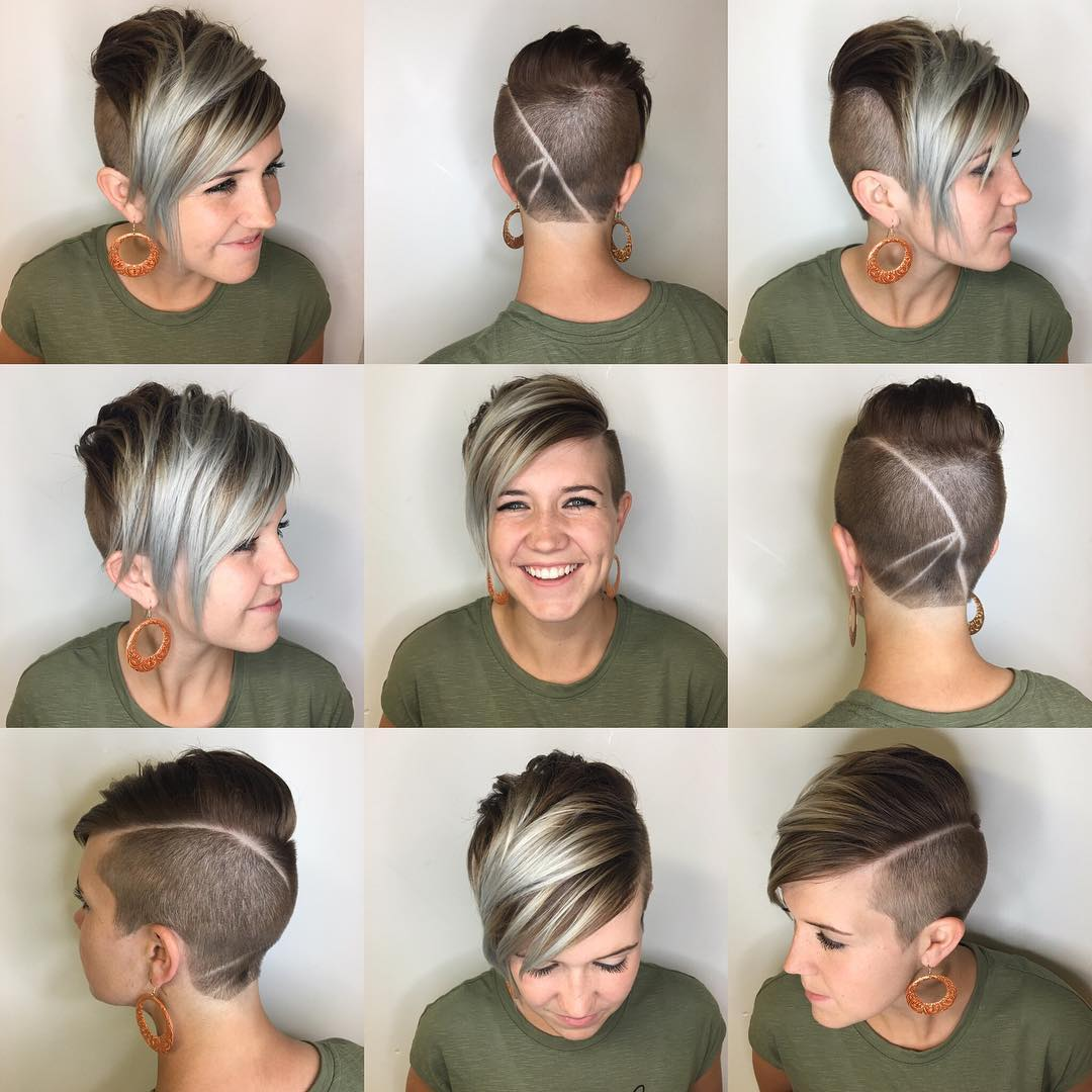 Edgy Brunette Undercut Pixie with Platinum Highlighted Fringe Short Hairstyle