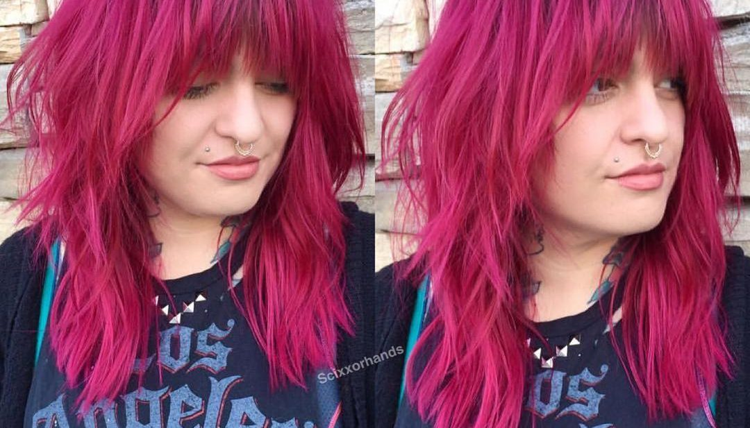 Edgy Shag Cut with Messy Textured Fringe and Magenta Color with Shadow Roots Long Hairstyle
