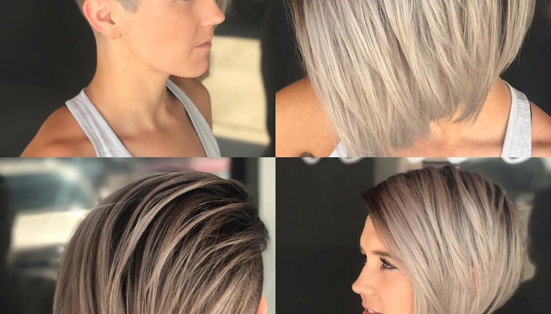 Edgy Side Swept Blonde Undercut Bob Short Hairstyle