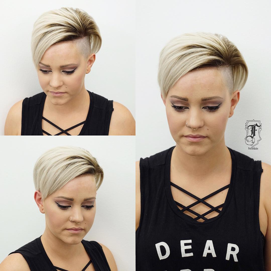 Edgy Undercut Pixie with Platinum Color and Brunette Shadow Roots Short Hairstyle