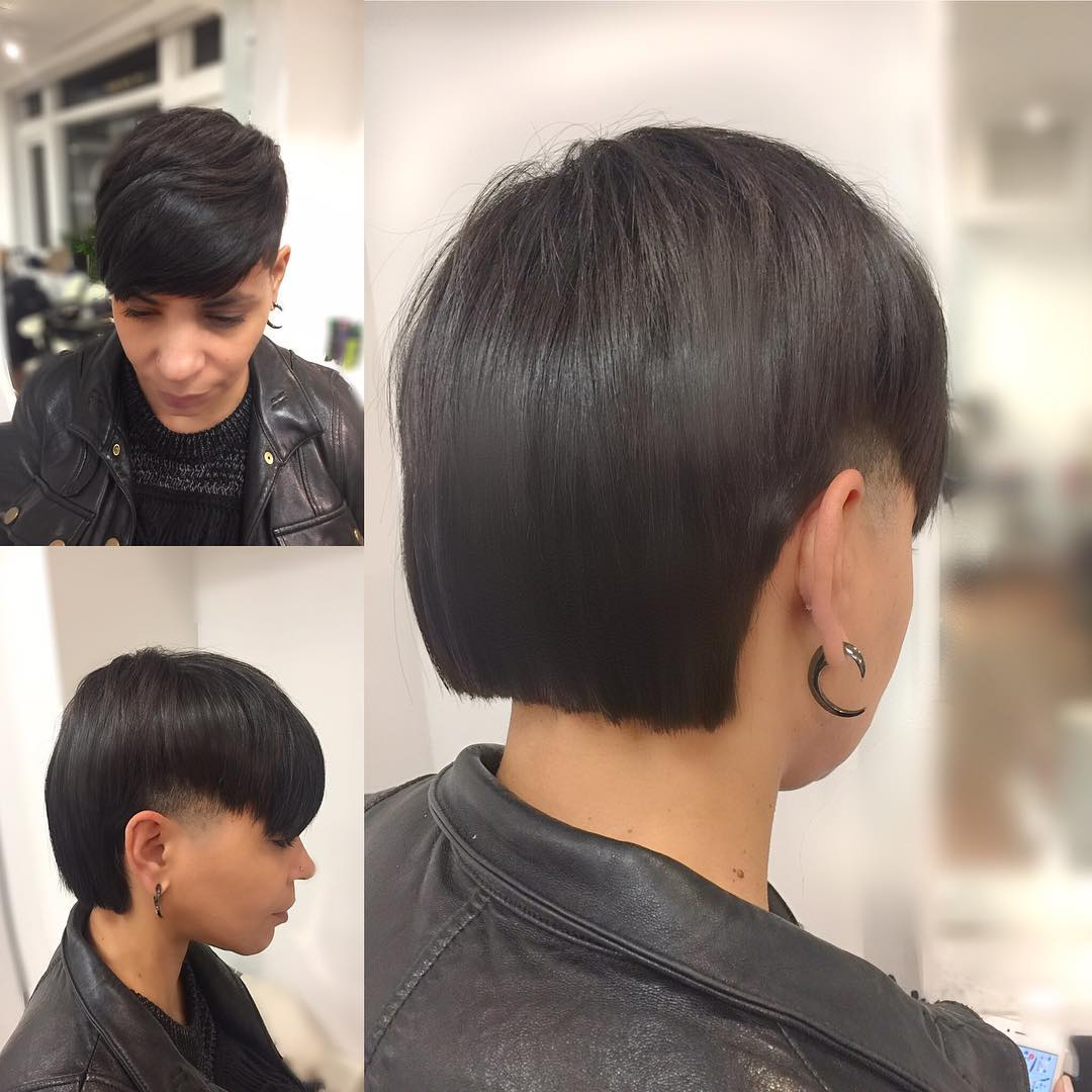 Edgy Undercut with Blunt Back and Textured Top Lengths with Full Bangs Short Hairstyle