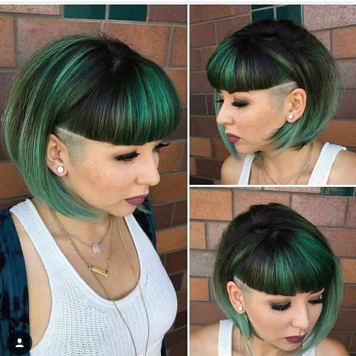 Emerald Green Undercut Bob with Blunt Baby Bangs Short Hairstyle