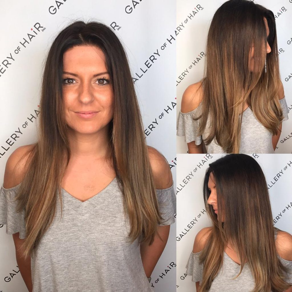 Face Framing Cut with Textured Ends and Brunette Balayage Long Hairstyle