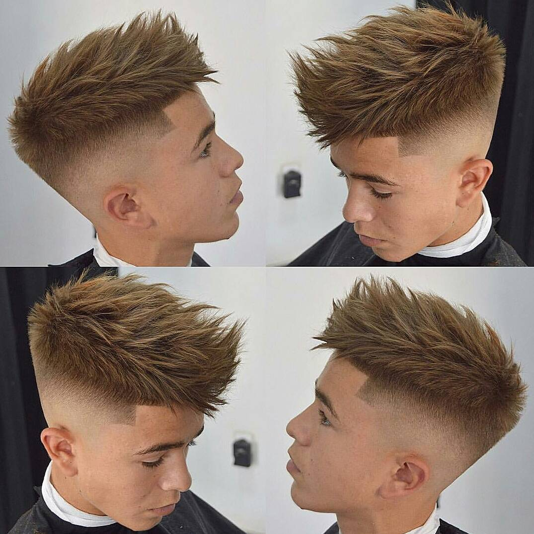Fade Cut with Long Bronde Colored Fringe Top Texture Hairstyle