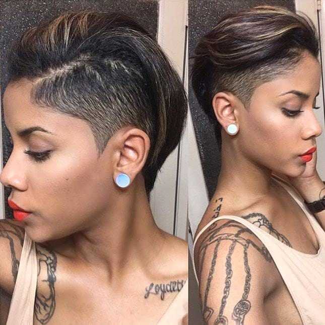 Fierce Undercut Pixie on Dark Hair with Highlights Short Hairstyle
