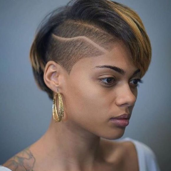 Fierce Undercut Pixie with Shave Art Skin Fade and Brunette Ombre Hair Color Short Fall Hairstyle