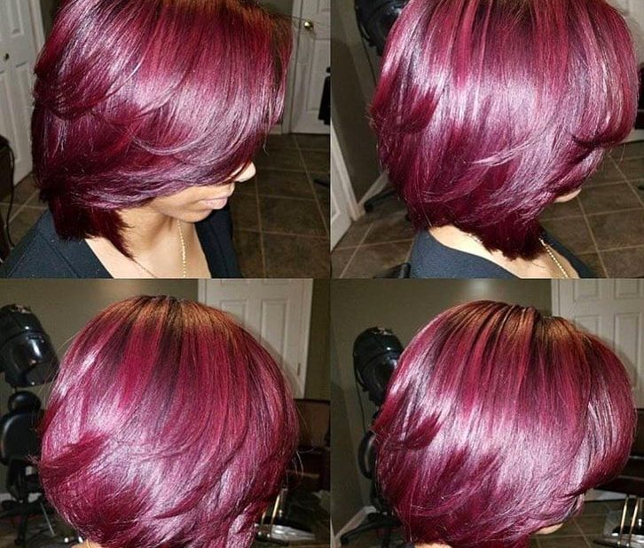 Fuchsia Blowout Bob with Wispy Ends Short Hairstyle