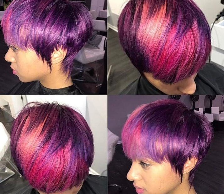 Fun Fringe Layered Pixie with Purple Color and Pink Highlights Short Hairstyle