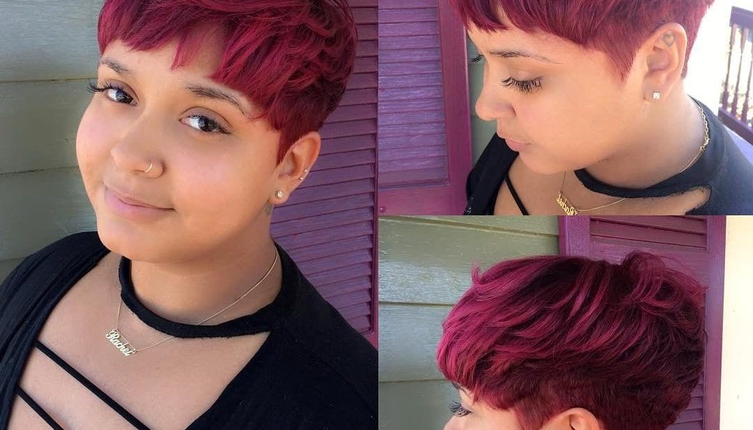 Bold Fuchsia Messy Textured Pixie Crop with Bangs Short Hairstyle