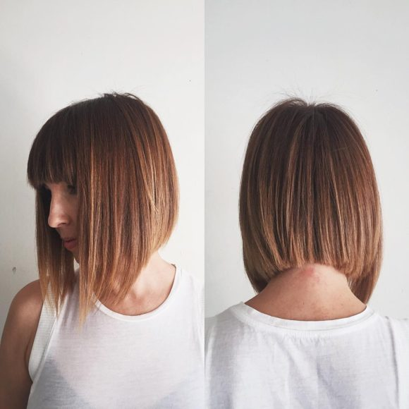 Ginger A-Line Bob with Full Blunt Bangs and Highlights Medium Length Hairstyle