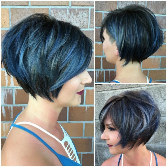 Graduated Messy Textured Bob with Side Swept Bangs and Icy Blue Highlighted Fringe Short Hairstyle