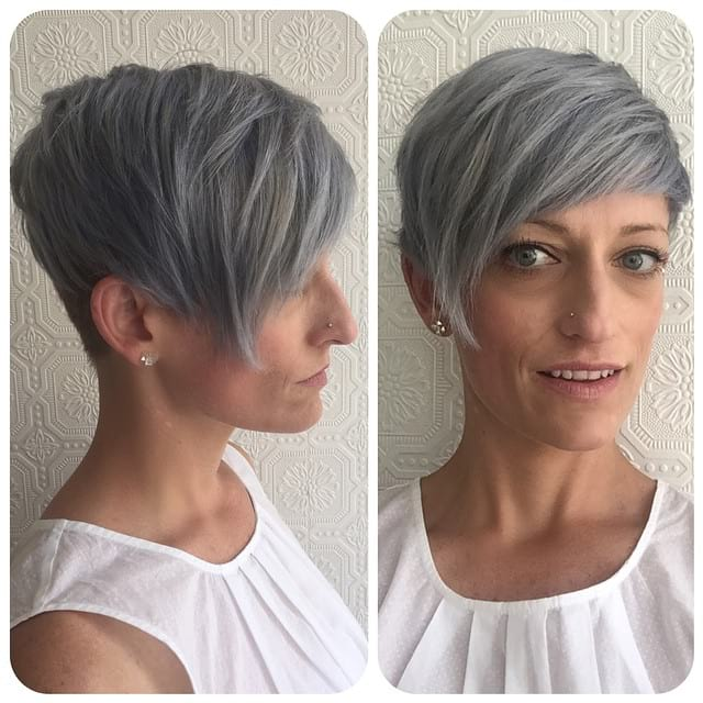 Grey Biased Crop with Straight Undone Texture and Tapered Nape Short Hairstyle