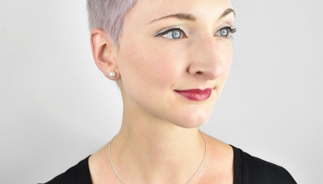 Icy Pink Pixie with Side Swept Bangs and Straight Textured Lengths Short Fall Hairstyle