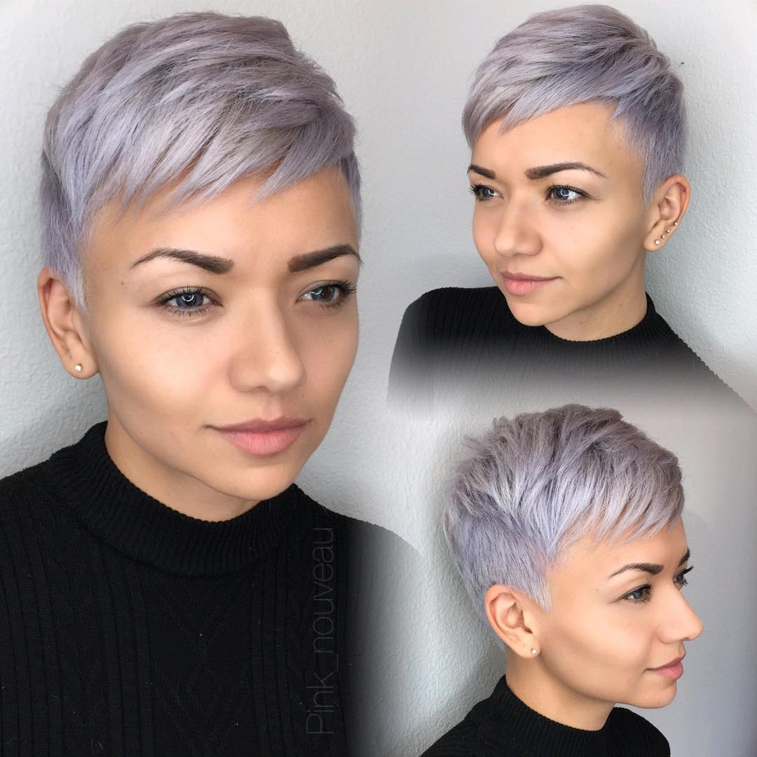 Icy Purple Metallic Pixie with Textured Layers and Tapered Sides Short Summer Hairstyle