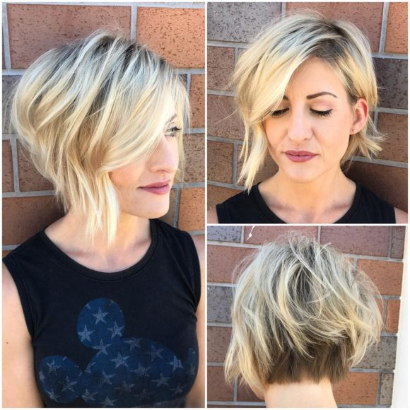 Inverted Blonde Textured Bob with Side Swept Bangs and Shadow Roots Short Hairstyle