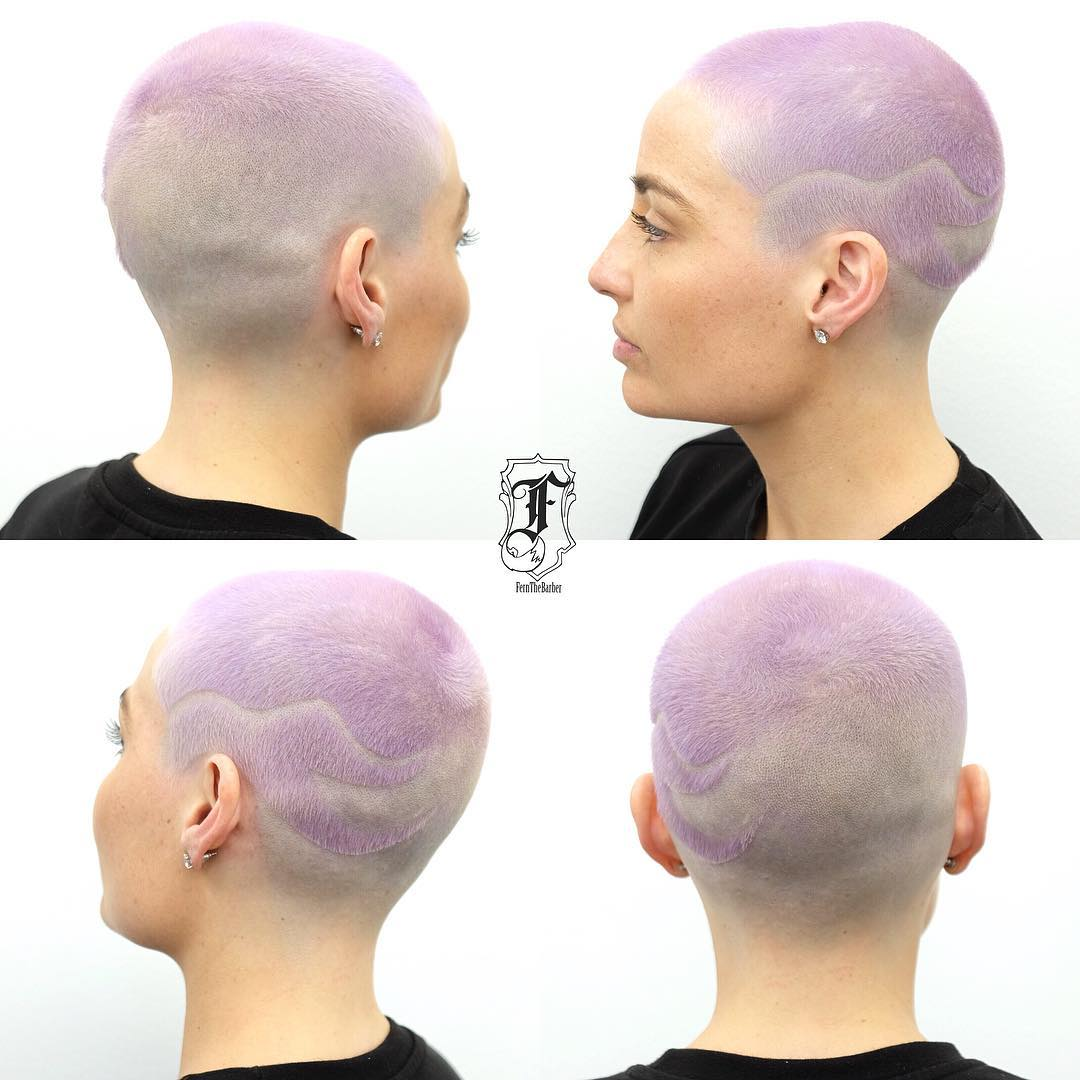 Lavender Fade and Taper Buzz Cut with Shave Art Detail Short Hairstyle