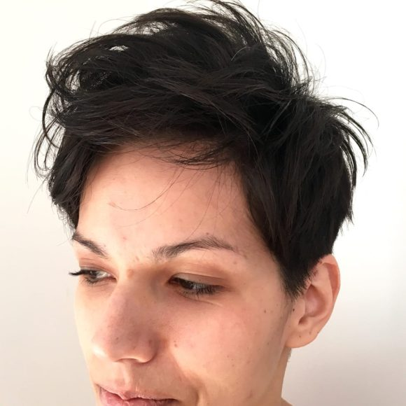 Layered Crop with Messy Textured Fringe and Brunette Color Short Hairstyle